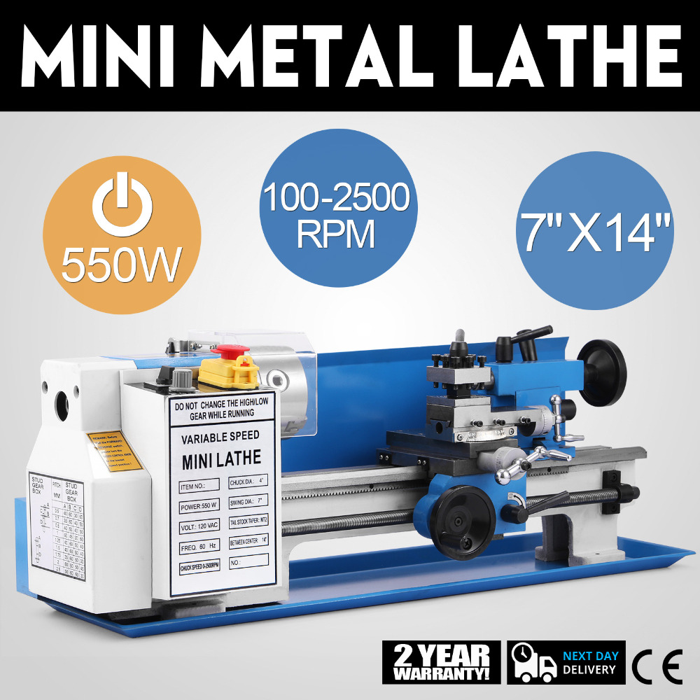 Metal Lathe 7 X 14-Inches Precision Mini Lathe Variable Speed 2500 RPM 550W Mini Metal Lathe With Tools