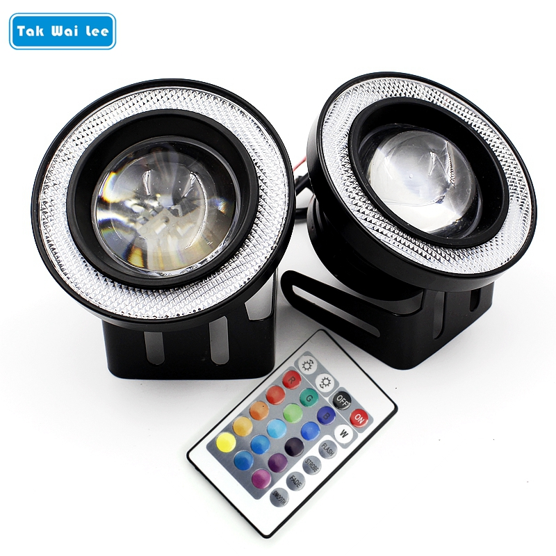 Tak Wai Lee 2X IR Control Remote RGB LED COB Angel Eye Fog Lamp 76/89mm 3/3.5Inch Auto Car Styling DRL Daytime Running Light 2x 64 76 89mm 20w led cob fog lamp car vehicle auto blue white red angel eyes light with lens dc12v led daytime running lights