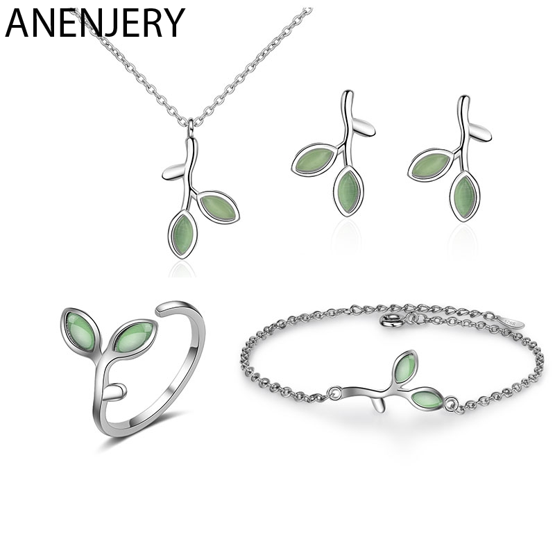 ANENJERY 925 Sterling Silver Jewelry Sets Opal Leaf Bud Necklace+Earrings+Ring+Bracelet For Women Summer Jewelry Gift