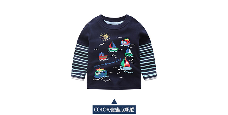 2018 Spring Autumn For 2-9 10 Years Children Cotton Striped Patchwork Cartoon Car Bus Truck Baby Kids Boys Long Sleeve T Shirts (17)