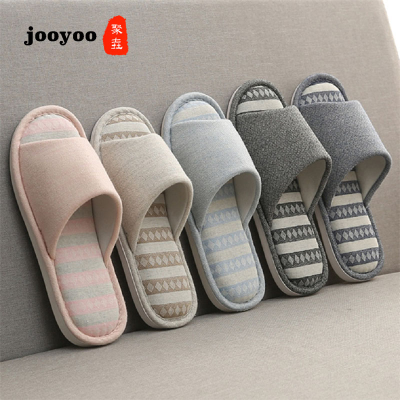 Woman Man New PVC+Cotton Slippers Indoor Chaussures Non-slip Shoes Femme Mules Fur Slippers Household Shoes Winter Autumn jooyoo 1