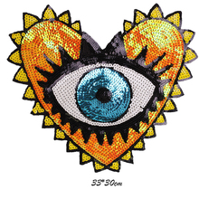 Patch for Clothes Coat Punk Heart Eye Sequins Patches Diy Clothing Stickers  Sew on Embroidered Applique 34c80406af07
