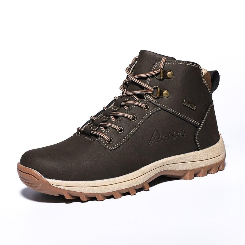 Pscownlg уличная прогулочная обувь для мужчин треккинг Альпинизм Кемпинг кожаные кроссовки зимние спортивные легкие нескользящие носки - 2