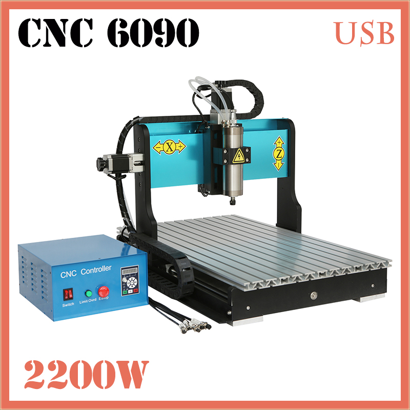 JFT 2200W 3 Axis Engraving Machines Water Cooled Spindle Motor Wood CNC Router CNC Engraver USB 2.0 Port 6090 hot sales trophy engraving machines