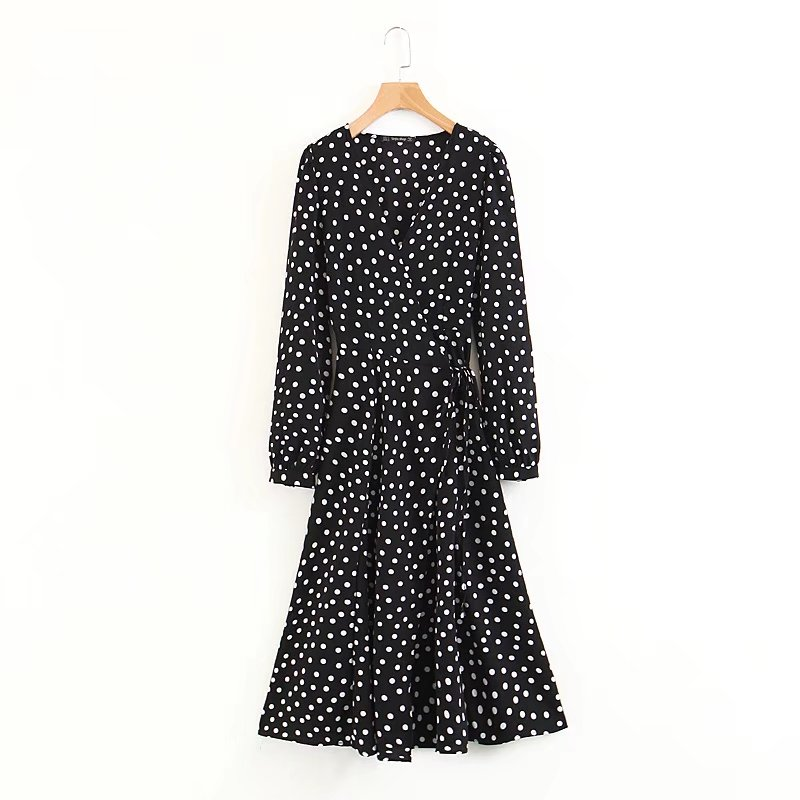 Bohemian Style Black White Dot Sexy V-neck Lantern Sleeve A Word Hem Waist Bow Belt Spring/Summer Bohemian Dress 2018 New