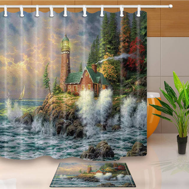 Island Shower Curtains Landscape Bathroom Polyester Fabric Waterproof And Mildew Proof Washable With 12 Plastic Hooks