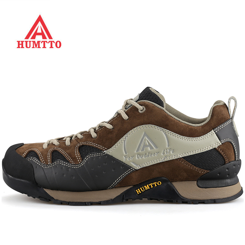HUMTTO Outdoor Hiking Shoes Man Brand Climbing Mountain Trekking Sport Shoes For Men Camping Genuine Leather Men's Sneakers yin qi shi man winter outdoor shoes hiking camping trip high top hiking boots cow leather durable female plush warm outdoor boot