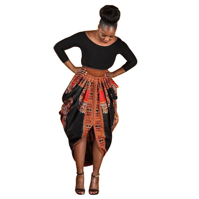 192757638b72 € 22.64 |Moda estilo sirena mujeres vestido Irregular nacional único  africano imprimir partido vestido Casual manga larga rodilla vestidos #48  en ...