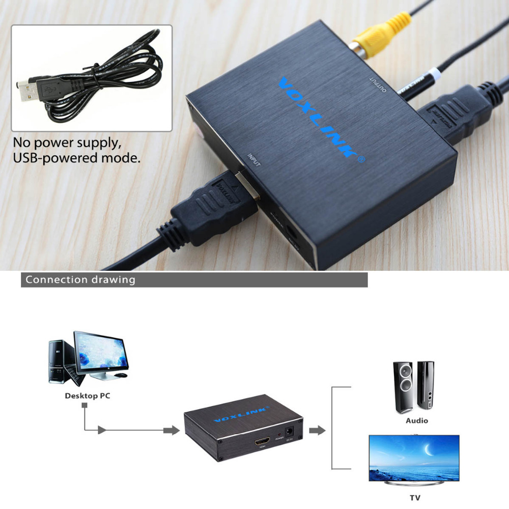 VOXLINK 1080P 4K*2K HDMI to HDMI Audio Converter With TOSLINK SPDIF+3.5mm Stereo Audio Extractor Coverter