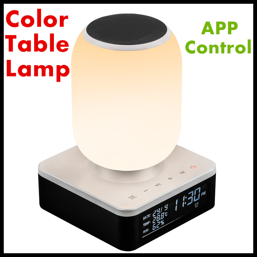2018 Table Lamp Wireless Bluetooth Speaker Music Night Light-RGB Color Change Bedside Lamp App Smart Control Ambient Light led touch color change night light motion sensor bedside lamp bluetooth speaker touch control support mobile phone app control