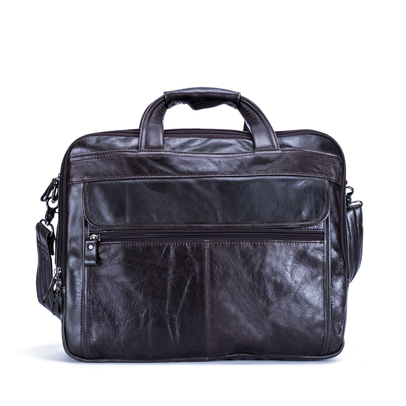 New Genuine Leather Men Briefcase Messenger Bag Business Retro Laptop Handbag Cowhide Man Shoulder Travel Bags 2019 New Fashion