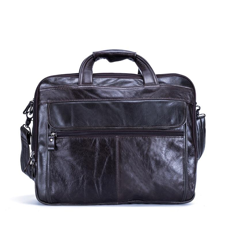 New Genuine Leather Men Briefcase Messenger Bag Business Retro Laptop Handbag Cowhide Man Shoulder Travel Bags 2019 New Fashion