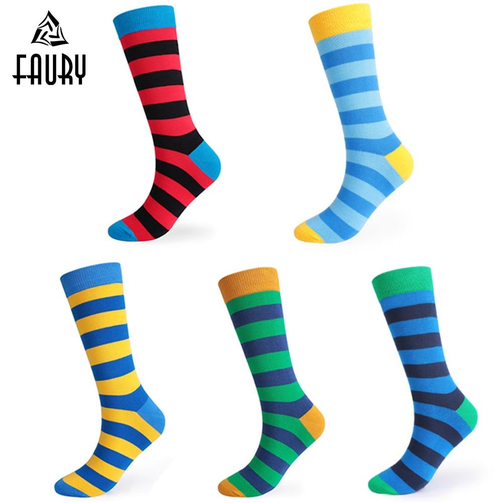 Mens Funny Happy Socks Fine Paragraph Stripe Cotton Tube Socks Men Fashion Colorful Socks Casual Male Socks Gift High Quality