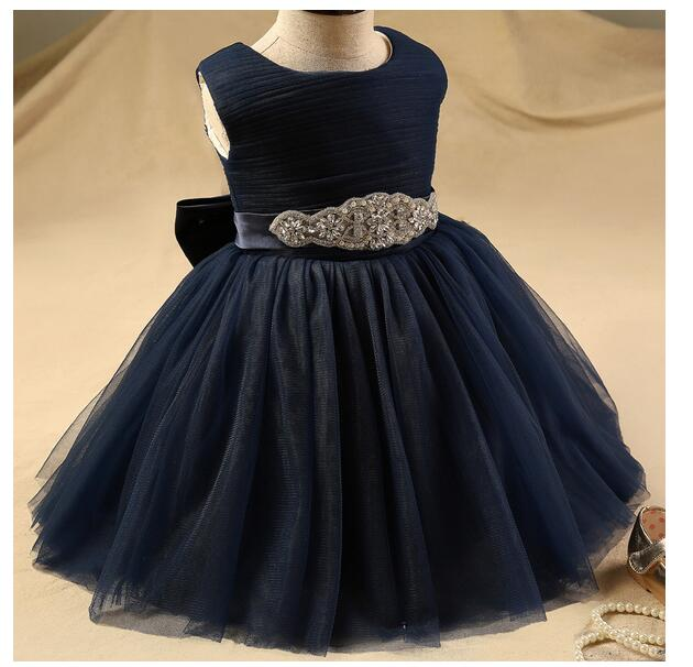 Baby Girls Pageant Formal Dresses 2017 Diamond Tiered Gauze Gowns Infant Girls Princess Tutu Dress Kids Birthday Wedding Dresses girls pageant formal dresses 2018 tailing floor length ball gowns flowers girls princess dress kids birthday party wedding dress