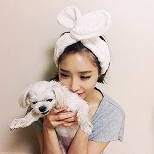 876b1fbdd7a Women Girl Headwear Big Rabbit Ear Headband Soft Towel Hair Band Wrap  Headband Bath Spa Make Up Women Girls Hair Accessories