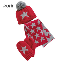Winter Baby Boy Girl Hat Scarf And Gloves Set Children Cap Girls Winter Christmas Gift Kids
