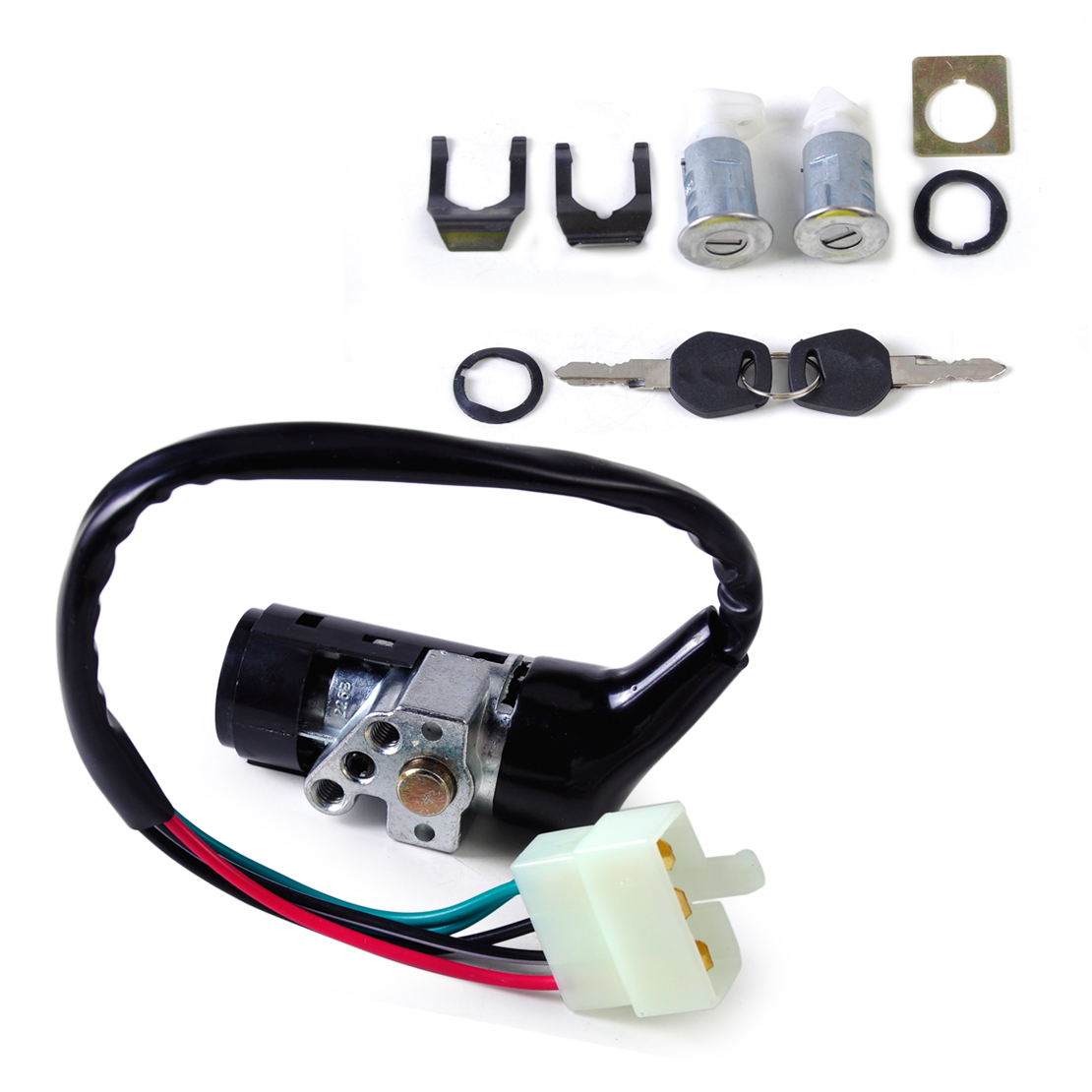 Moto Ignition Switch 5 Wire 2 Keys Lock Toolbox Lock Set fit for Chinese Scooter GY6 50cc 125cc 150cc 250cc ATV Scooters Moped