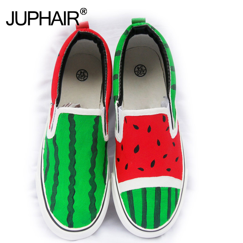 New Wholesale Retail Womens Casual Low Shoes Watermelon Summer Autumn Girls Boy Fashion Canvas Down Hand Painted Cartoon Shoes