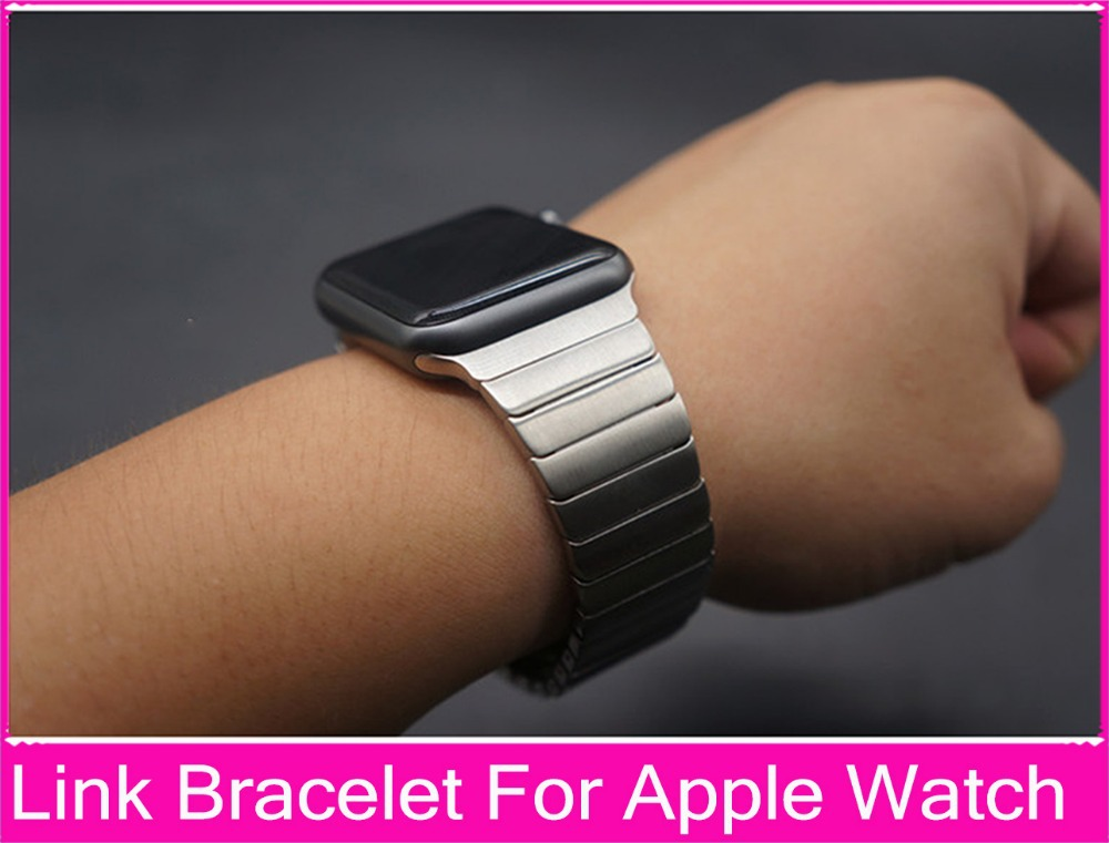 Luxury Link Bracelet Band For Apple Watch 3 2 1 42mm 38mm Black Silver Stainless Steel Original Banda For Iwatch Watchbands black silver u shape aluminium alloy stand docking charger station holder for apple watch iwatch