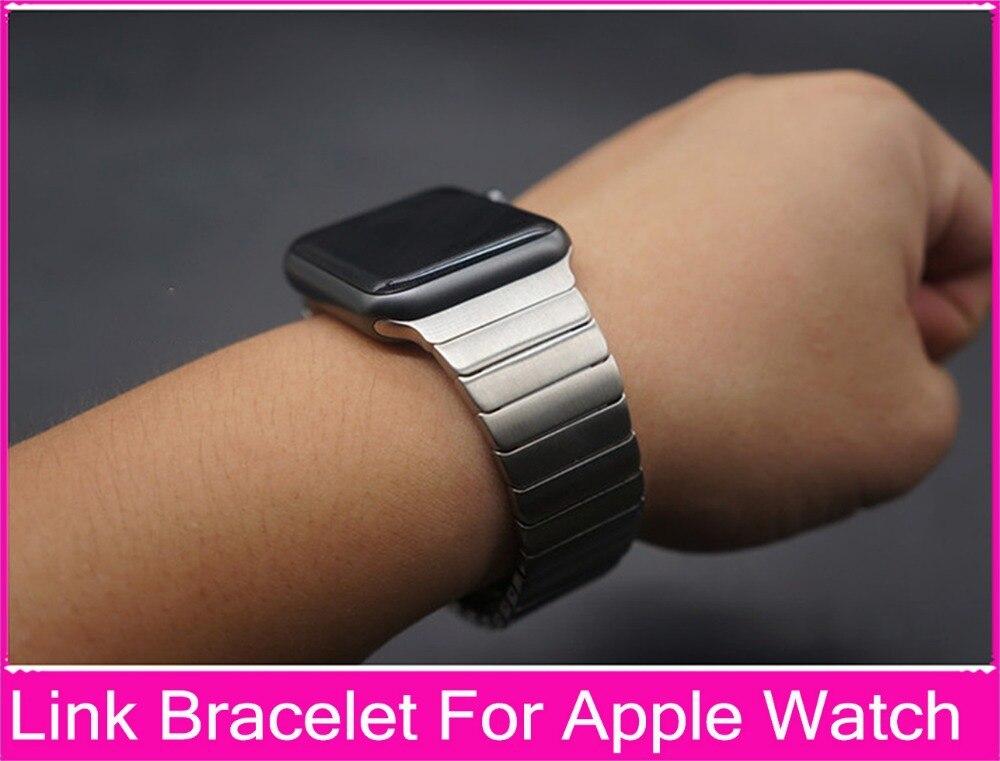 все цены на Luxury Link Bracelet Band For Apple Watch 3 42mm 38mm Black Silver Stainless Steel Original Banda For Iwatch Watchbands онлайн