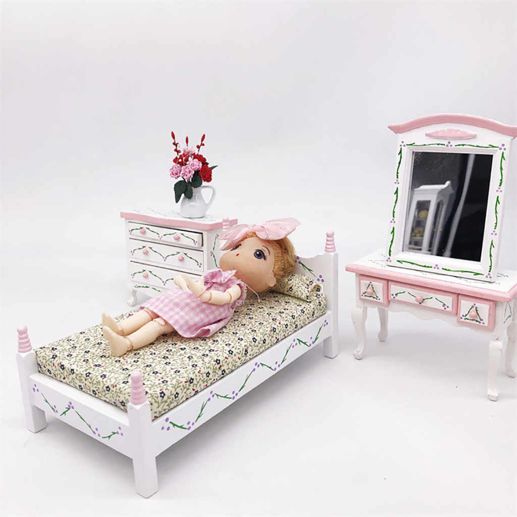 1/12 Dollhouse Furniture Simulation Mini Bed Set Miniature Living Room Kids Pretend Play Toy DIY Doll House Accessories Toys T9#