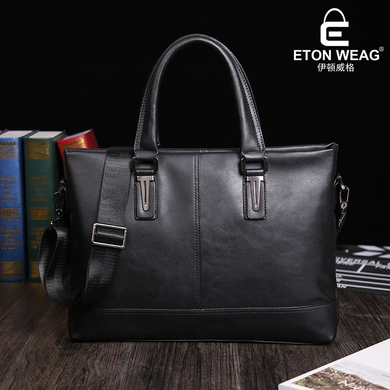 ETONWEAG Brands Cow Leather Designer Handbags High Quality Black Zipper Laptop Bag Business Crossbody Document Shoulder Bag etonweag brands italian leather designer handbags high quality black zipper men messenger bags man business shoulder laptop bag