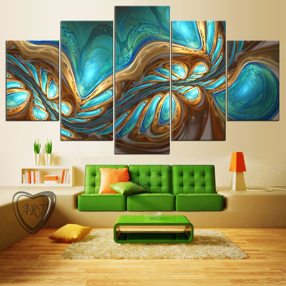 5 Pieces Sports Team Deco Fans Posters Oil Painting On Canvas Modern Home Pictures Prints Decor Living Room PH4-1943
