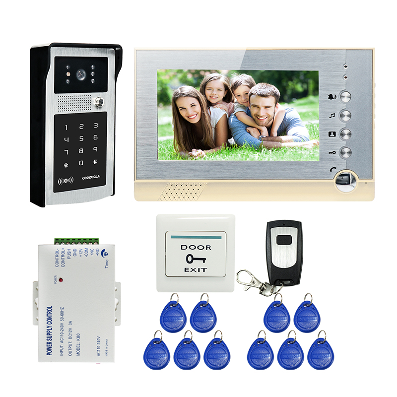 FREE SHIPPING New 7 TFT LCD Screen Record Video Door Phone Intercom System Outdoor RFID Access