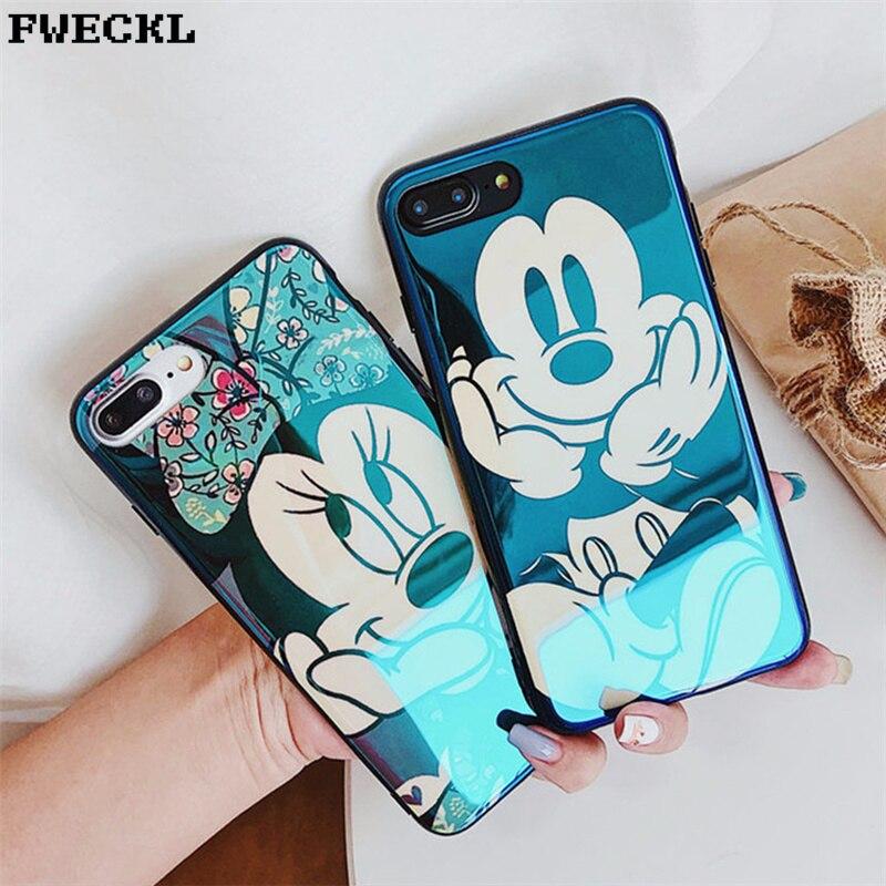 Plaquent Bleu Lumière Douce coque pour téléphone pour iPhone X 6 6 s 7 8 Bande Dessinée Minnie Mickey Mouse Téléphone étui pour iPhone 6 6 s 7 8 PLus