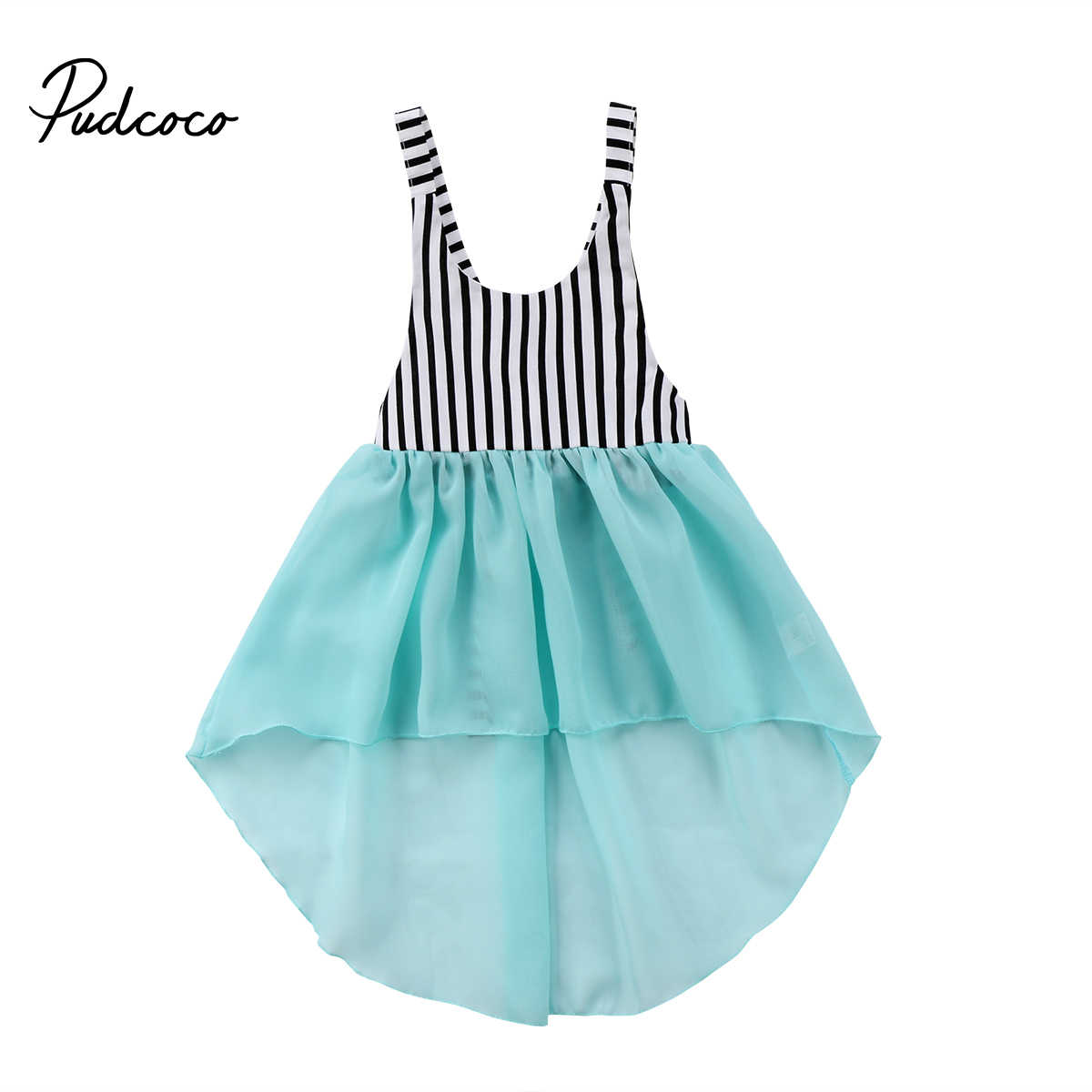 b1785acfff 2018 Brand New Toddler Infant Kids Girls Tail Dress Sleeveless Summer  Sundress Striped Chiffon Patchwork Princess