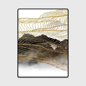 Image 5 - Moda abstrato estilo nórdico tinta linhas douradas sala de estar quarto tapete de veludo escritório antiderrapante decoração tapete feito sob encomenda