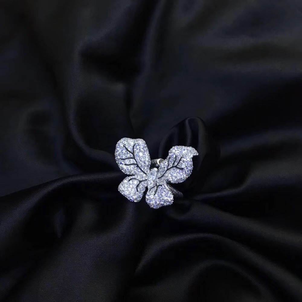 925 sterling silver with cubic zircon butterfly ring cute adjustable size pave stone fashion women jewelry free shipping - 6