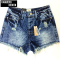 2014 Destroyed sucia Ripped Distress cintura alta Denim Shorts Jeans para mujeres Feminino Feminina mini Shorts vaqueros 3942K9
