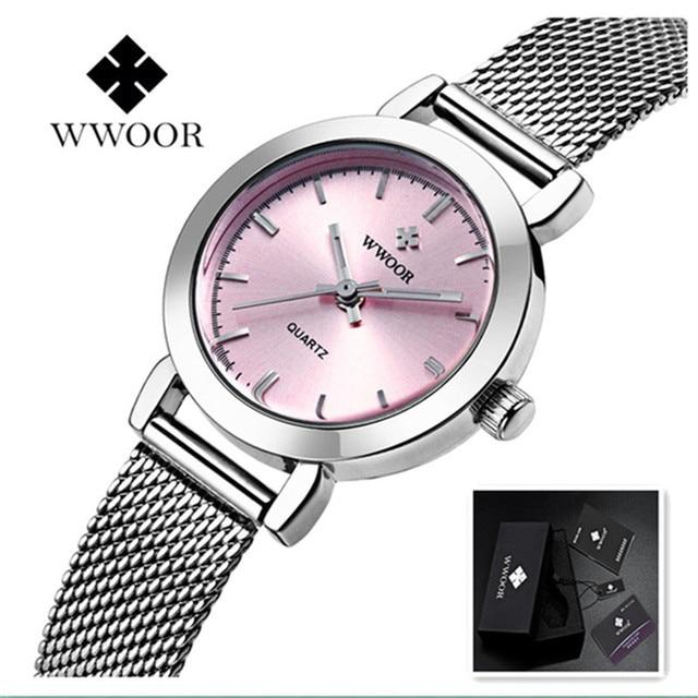 4dba0baa609f WWOOR vestido de las mujeres relojes de marca de lujo señoras reloj de  cuarzo de acero inoxidable de malla de la banda de pulsera de oro reloj de  pulsera ...