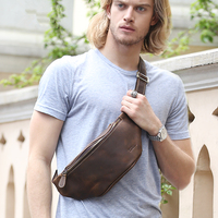 Men Simple Waist Bag Genuine Leather Vintage Waist Pack Cowhide Casual Chest Bag Phone Pouch Multifunctional Shoulder Day Pack