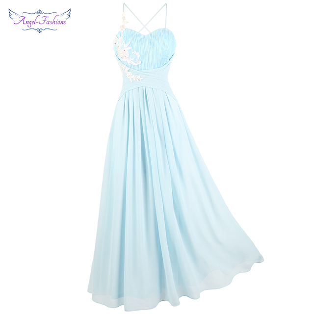 0f60640d67b Angel-fashions Women s Spaghetti Strap Pleated Appliques Evening Dress  Chiffon Party Gown Summer Lace Up Light Blue 447