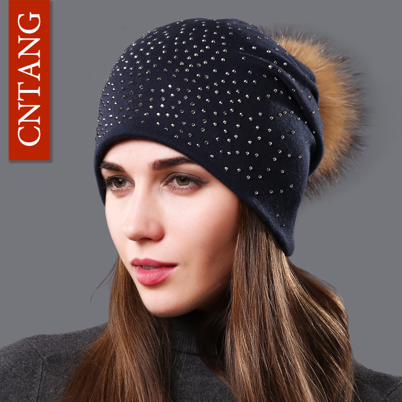 CNTANG Fashion Autumn Beanies Rhinestones Hat For Women Female Skullies Natural Raccoon Pompom Fur Hats Winter Warm Cotton Caps