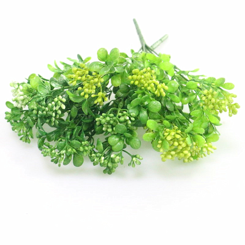 Flone Green Artificial Flower Simulation Milan Small Bouquet Plastic Plant Flowers For Wedding Home Office Party Decoration Art ...