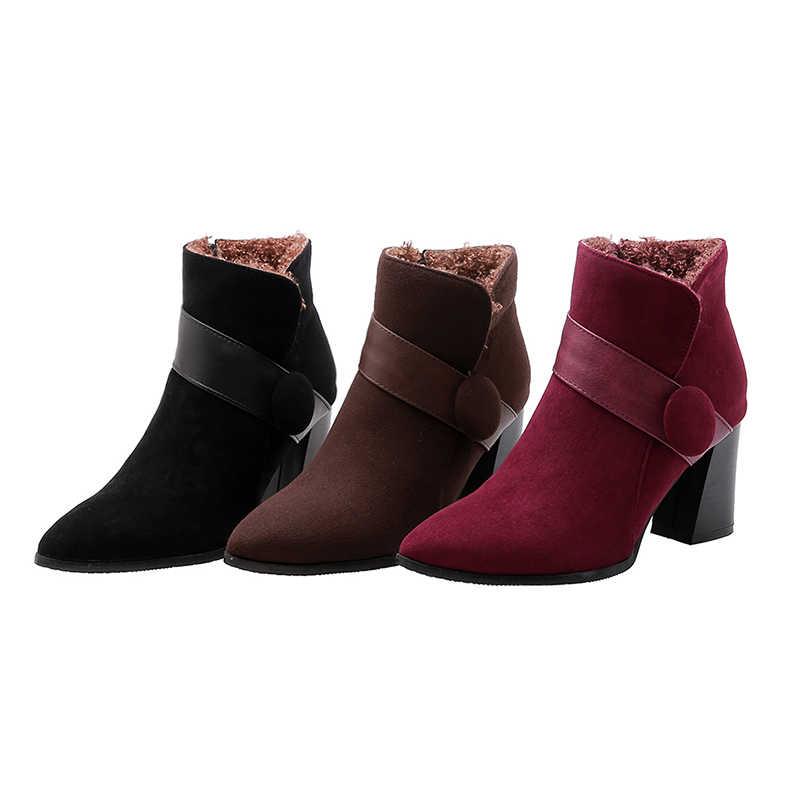 WETKISS Sivri Ayak Kemer Toka Yüksek Topuklu Kalın Peluş Kadın yarım çizmeler Sıcak Tutmak Kış Kadın Bootie Kalın Topuk Termal Botlar