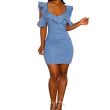2528124f14 Sexy mujeres azul Denim vestido de hombro frío Slim Jeans vestidos  cremallera volver vendimia de una sola pieza Bodycon Mini lín.