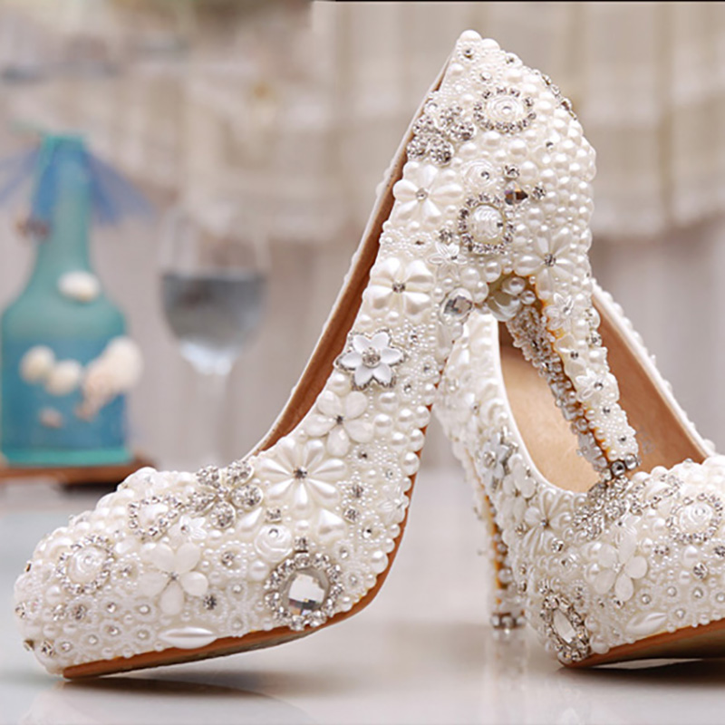 Pearl Women Wedding Shoes Crystal Bridal Evening Party White Pumps Super High Heel Round Toe Platform Shoes Sexy Lady Big Size