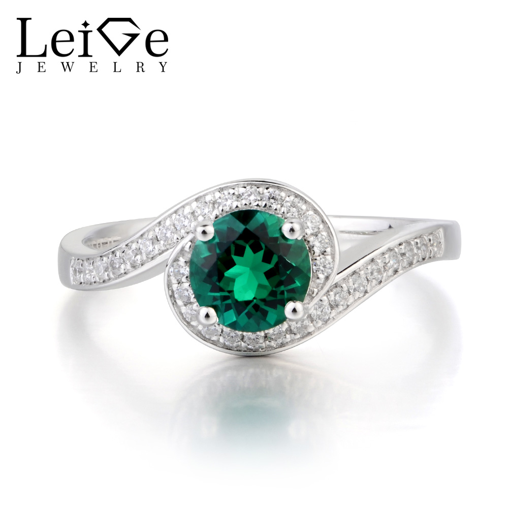 Leige Jewelry Wedding Ring Emerald Ring Round Cut Green Gemstone May Birthstone 925 Sterling Silver Ring Romantic Gifts for HerLeige Jewelry Wedding Ring Emerald Ring Round Cut Green Gemstone May Birthstone 925 Sterling Silver Ring Romantic Gifts for Her