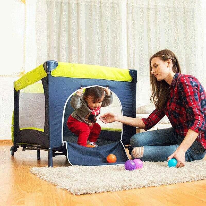 CACX lit bébé Portable multi-fonctionnel pliant lit bébé avec couches Table à langer voyage enfant jeux lits pour berceau infantile - 3