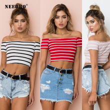 NEEDBO Sexy Crop Top t shirt Women Mujer Striped Funny Casual Summer Tshirts for Slim Slash Neck Off Shoulder Tops