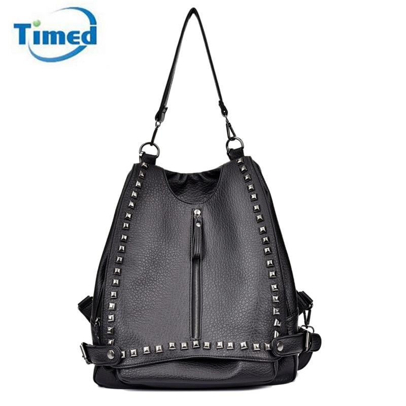 Новые женские рюкзаки с заклепками, однотонная Повседневная сумка, Высококачественная женская сумка из искусственной кожи, универсальная Дорожная сумка на молнии, модная большая сумка backpack rivet fashion women backpackwomen backpack   АлиЭкспресс