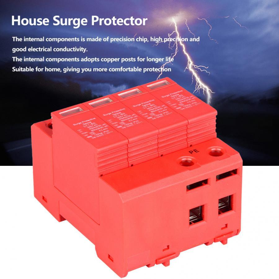 4P 40 80KA Optional 385V House Surge Protector Low-voltage Arrester Device 20A
