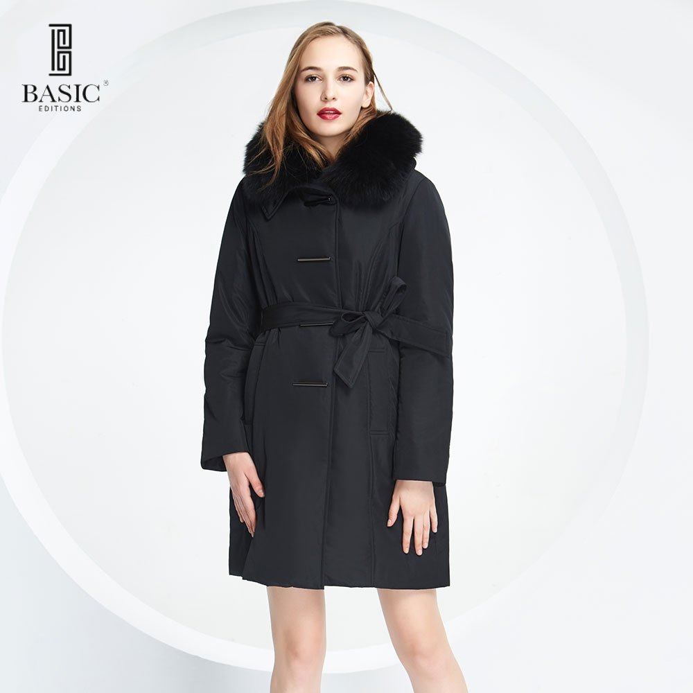 BASIC EDITIONS Winter Slim Fit Style Cotton Coat with Fox Fur Collar and Thick warm 3M Thinsulate Parkas Women Coat BCK103 free shipping woman with thick warm winter leather fox fur fur fashion coat m xxl