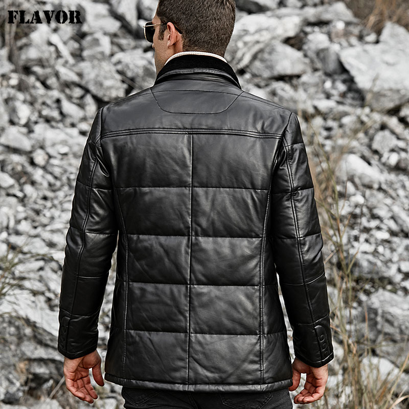 Image 5 - FLAVOR Men's Real Leather Down Jacket Men Genuine Lambskin Winter Warm Leather Coat with Turn down Sheep Fur Collar-in Genuine Leather Coats from Men's Clothing