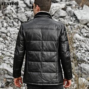 Image 5 - SMAAK mannen Echt Leer Donsjack Mannen Echt Lamsvacht Winter Warm Leather Coat met Turn down Schapen Bontkraag