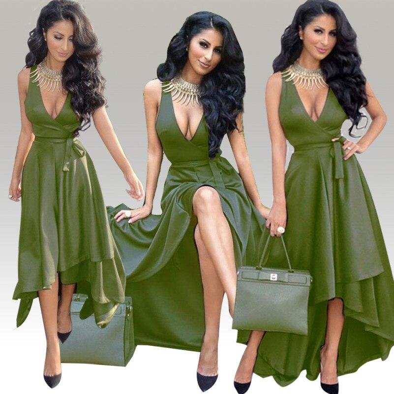 Women Vintage Elegant Sexy Deep V Neck Wrap Asymmetric